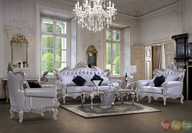 Luxury Silver Bonded Leather Carved Traditional Sofa Set HD 13006 (KD)