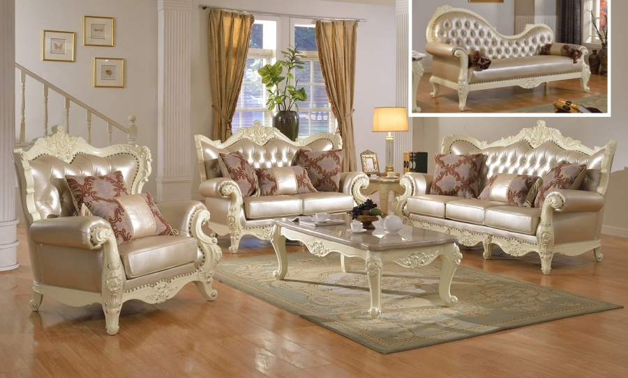 antique living room set traditional living room set w pearl bonded leather and 12736