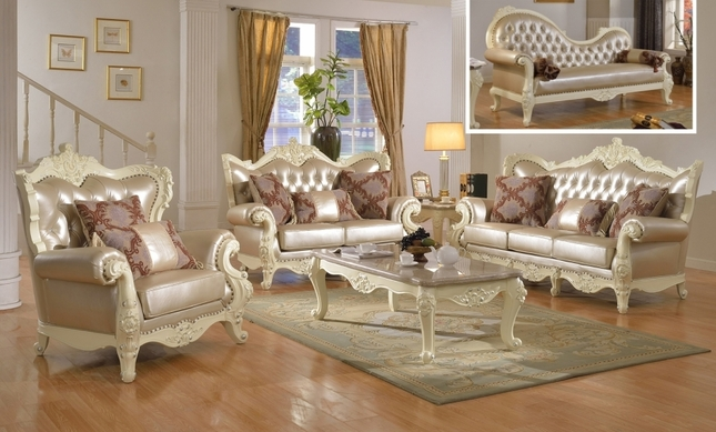 Traditional living room set w pearl bonded leather and - Traditional sofa sets living room ...