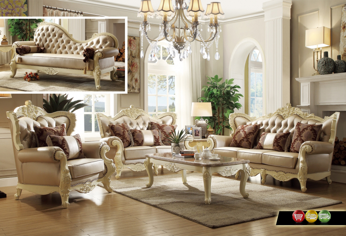 Traditional Living Room Set W Pearl Bonded Leather And Antique White Carved Wood