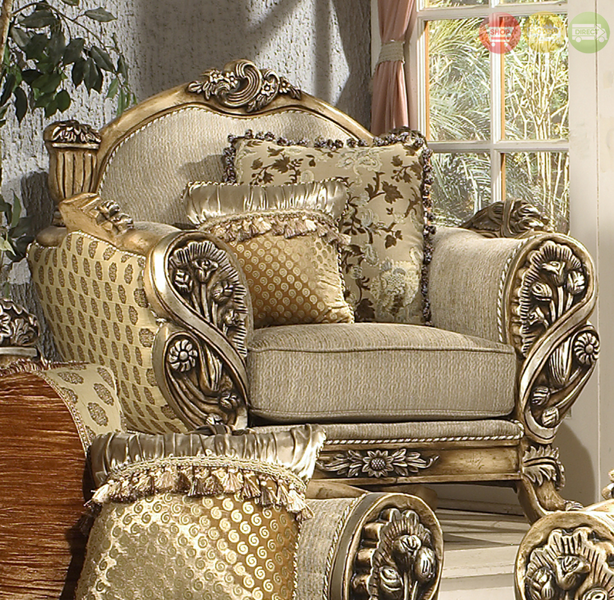 Luxury Classic Living Rooms: Luxury Traditional Living Room Upholstery Set W/Carved