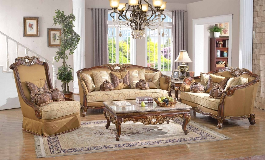 Luxury Traditional Sofa Set Antique Style Exposed Wood W