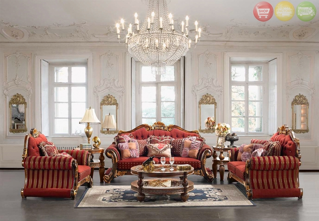 Luxury Upholstered Formal Living Room Furniture Traditional Sofa  Love Seat Homey Design HD 257 Set