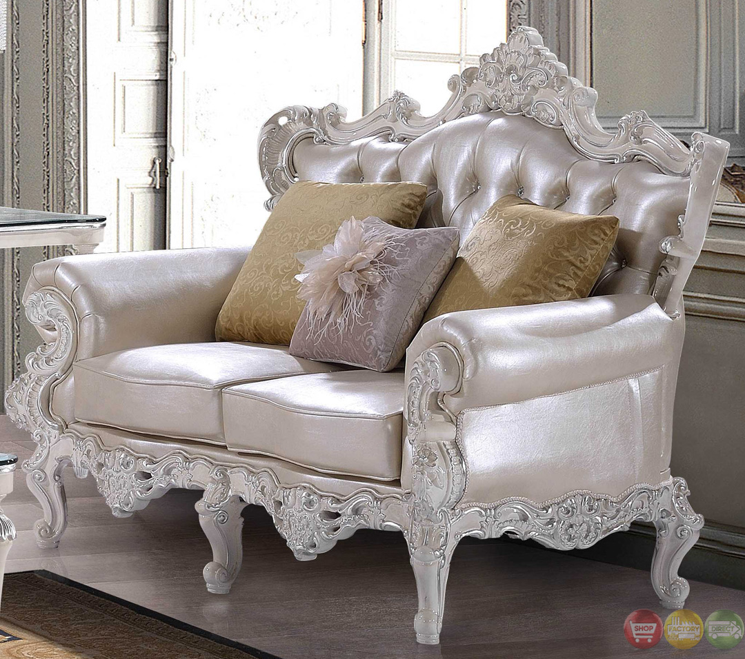Luxury carved bonded leather homey design sofa sets on for Traditional leather sofas sale