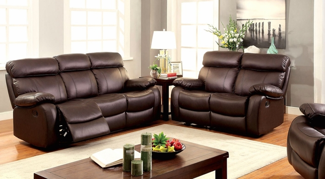 Lyndon Casual Brown Reclining Motion Sofa & Loveseat In Top Grain Leather