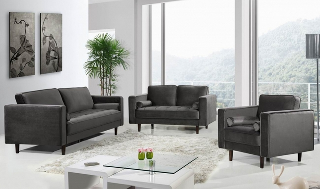 Macie Modern Deep Tufted Grey Velvet Sofa & Loveseat Set w/Bolster Pillows & Wooden Legs
