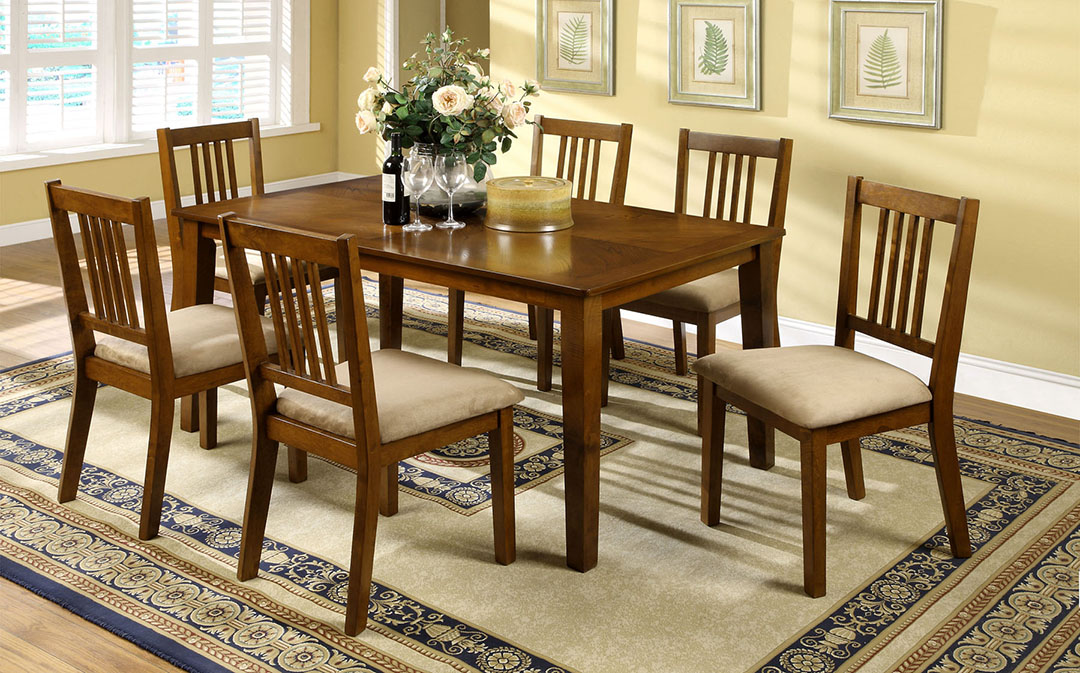 Mackay Transitional Dark Oak Casual Dining Set with Padded ...