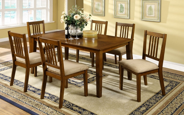Mackay Transitional Dark Oak Casual Dining Set with Padded Fabric Seat