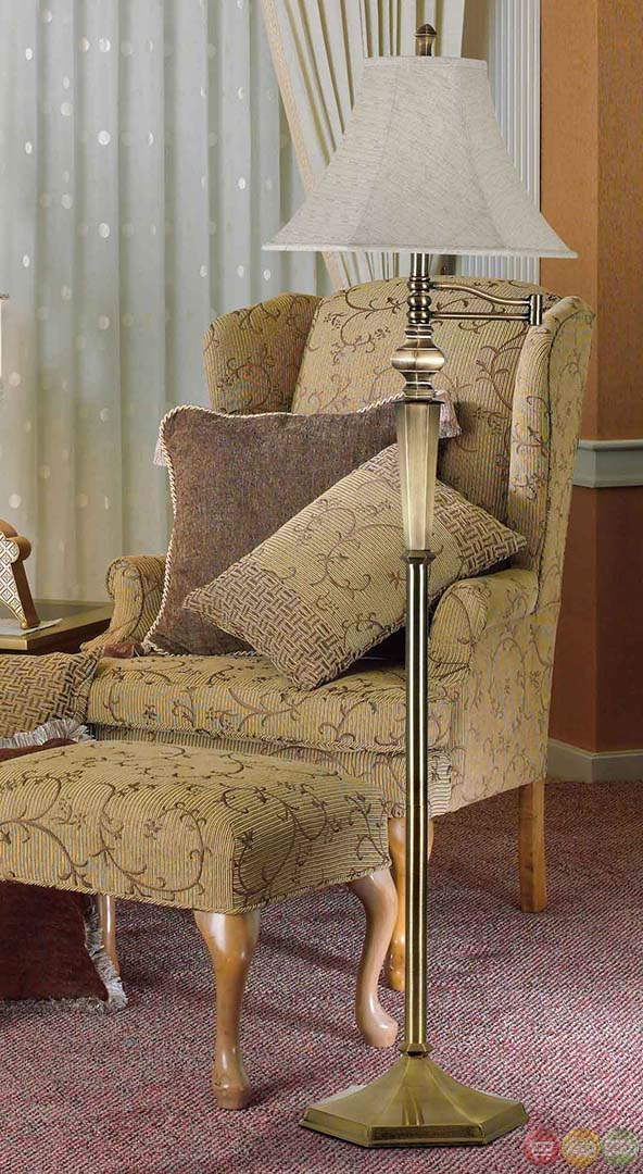 Traditional Swing For Living Room: Mackinley Traditional Swing Arm Metal Body Floor Lamp