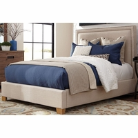 Madeleine II Beige Upholstered California King Bed With Nailhead Trim