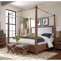 Madeleine Smoky Solid Acacia King Turnbuckle Canopy Bed