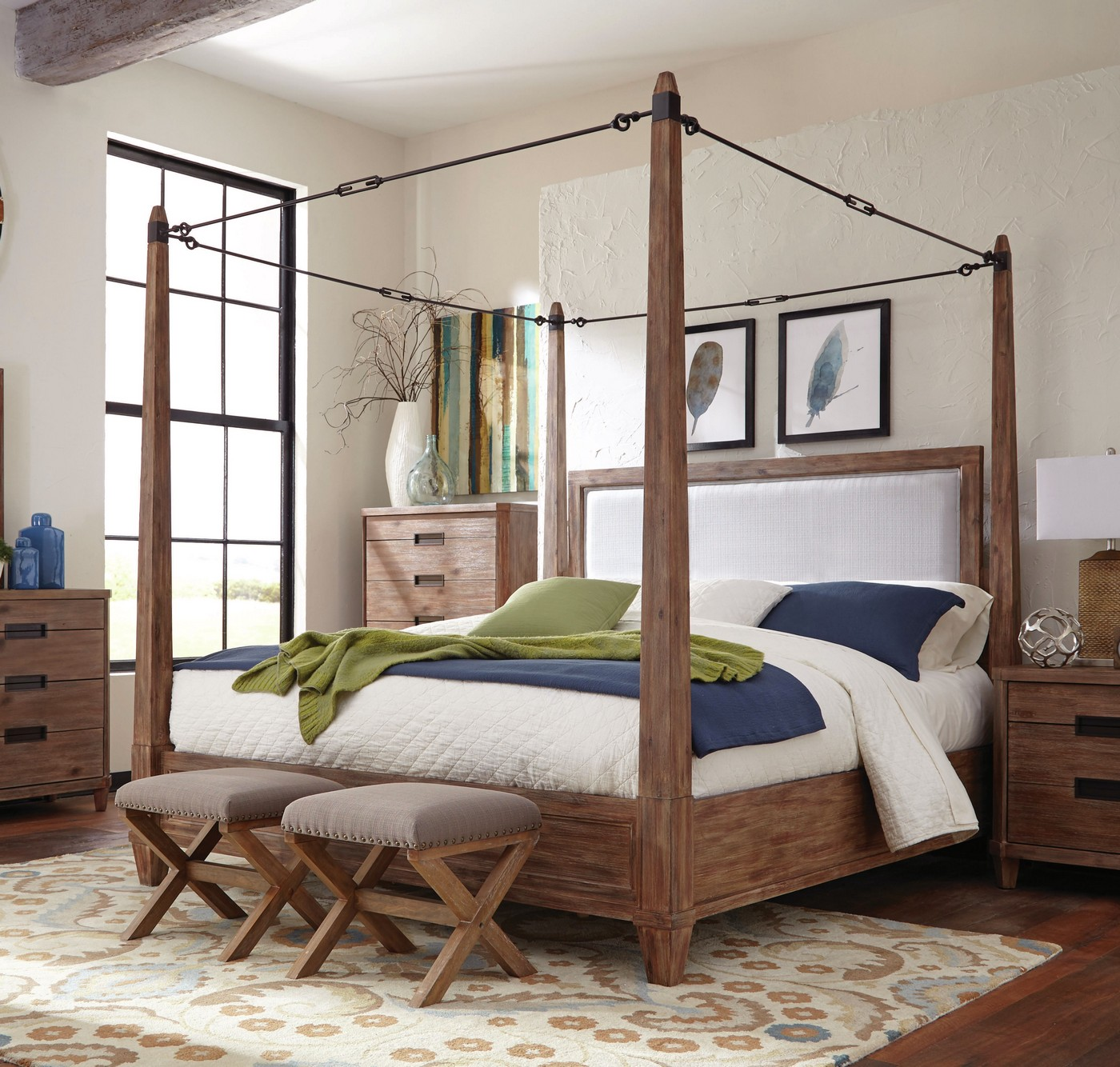 madeleine smoky solid acacia king turnbuckle canopy bed. Black Bedroom Furniture Sets. Home Design Ideas