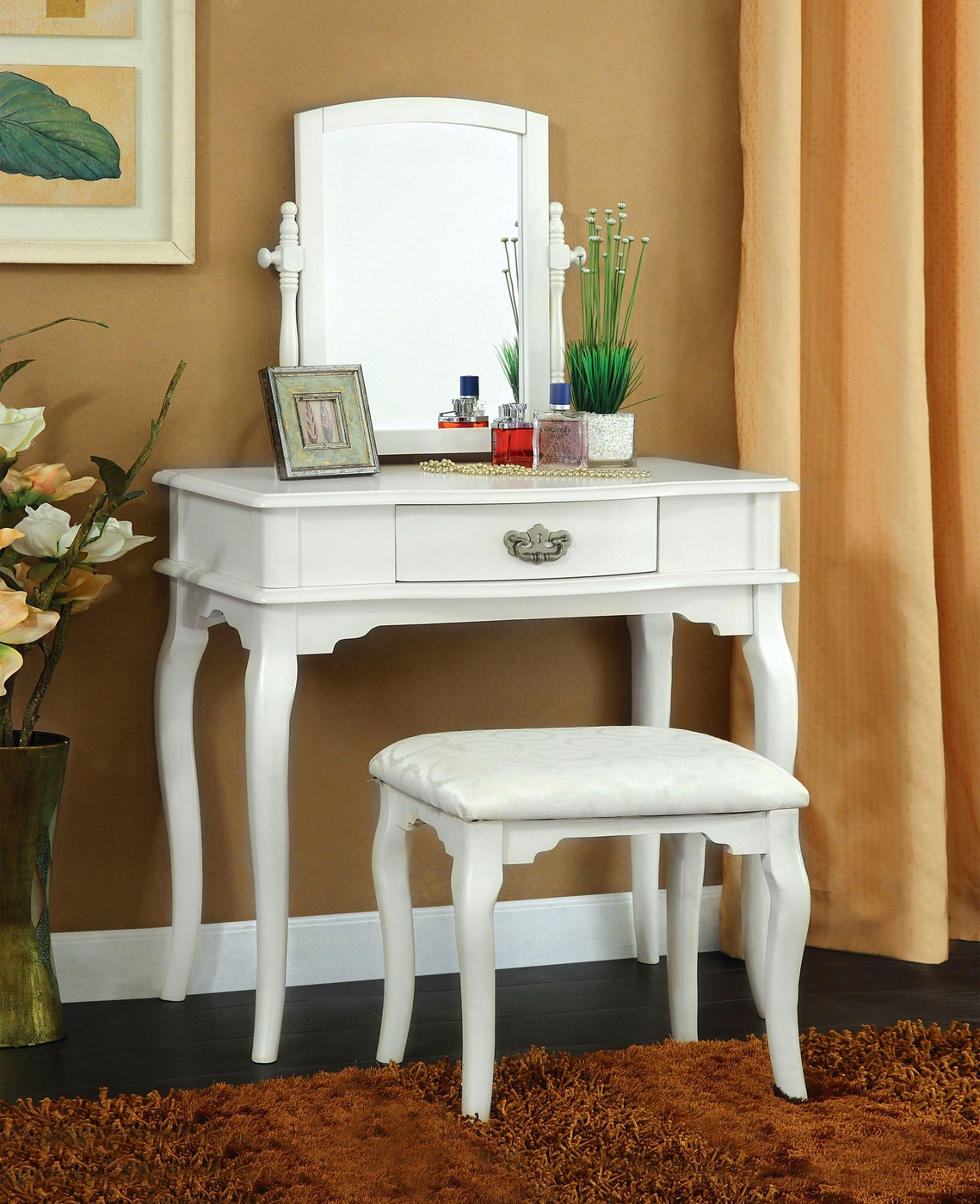 Madera Princess White Vanity Table With Padded Bench