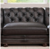 Madison Chesterfield 100% Leather Armless Sofa piece in Grey