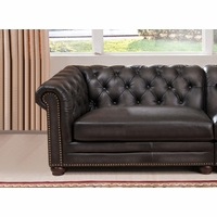 Madison Chesterfield 100% Leather LHS Sofa in Grey