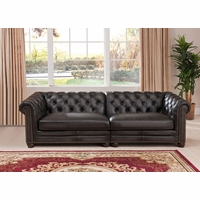 Madison Chesterfield 2 Piece 100% Leather Modular Sofa in Grey