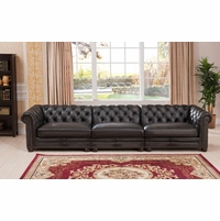 Madison Chesterfield 3 Piece 100% Leather Modular Sofa in Grey