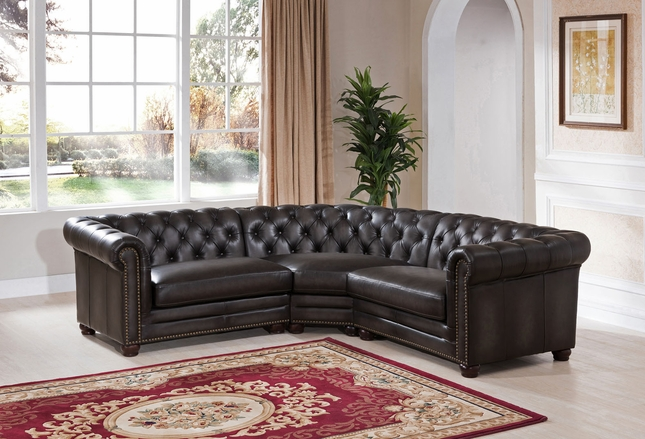 Madison Chesterfield 3 Piece 100% Leather Sectional Sofa in Grey