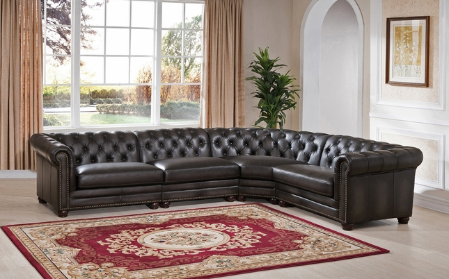 Madison Chesterfield 4 Piece 100% Leather Sectional Sofa in Grey