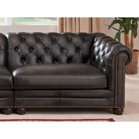 Madison Chesterfield RHS 100% Leather RHS Sofa in Grey