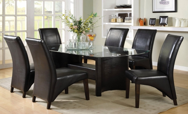 Madison Contemporary Espresso Casual Dining Set with Half-moon Table Legs