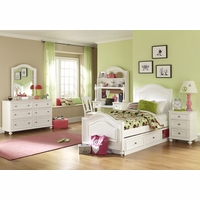 Madison Transitional Kids Wood Panel Twin Bed in White Painted Finish