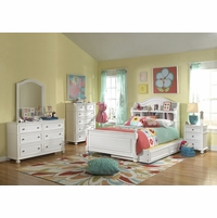Madison Transitional Kids Bookcase Headboard Twin Bed in White Painted Finish