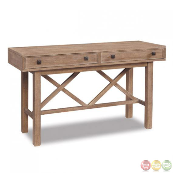 Madison Natural Finish Rustic Style Storage Sofa Table
