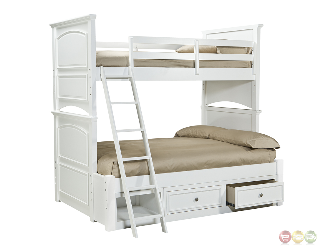 Madison natural white painted twin over full bunk bed for White twin bunk beds