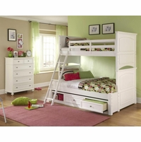 Madison Transitional Kids Twin Over Full Bunk Bed in White Painted Finish