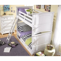 Madison Transitional Kids Twin Over Twin Bunk Bed in White Painted Finish