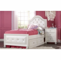 Madison Transitional Kids Upholstered Tufted Full Bed in Pearl White Finish