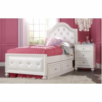 Madison Transitional Kids Upholstered Tufted Twin Bed in Pearl White Finish