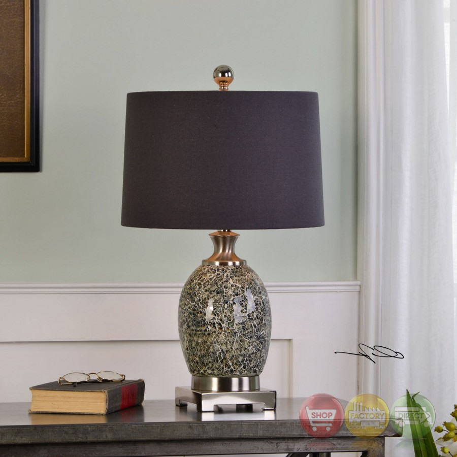 Madon Crackled Taupe Gray Glass Table Lamp With Round