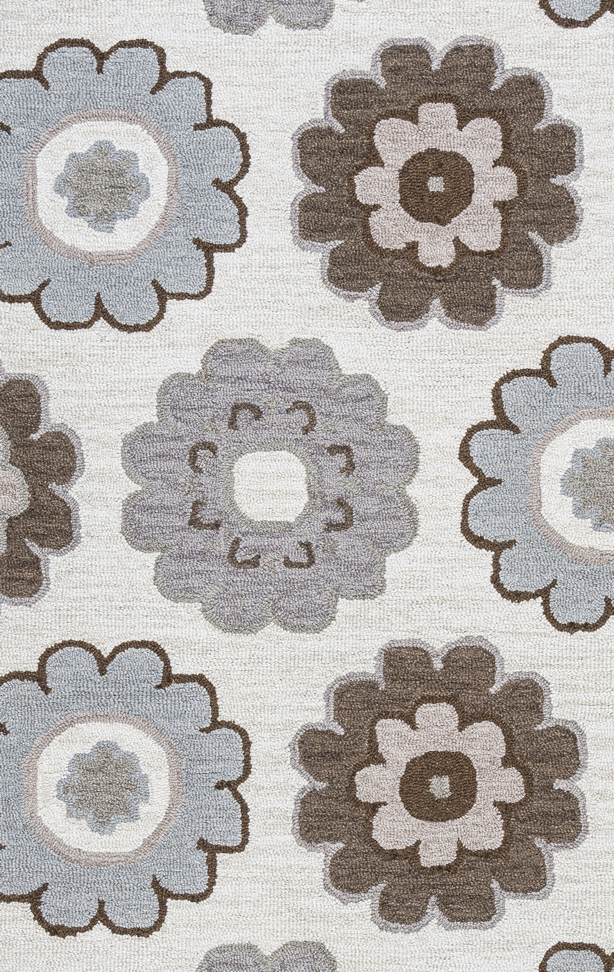 Maggie Belle Dainty Flower Pattern Wool Area Rug In Grey