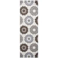 """Rizzy Home Maggie Belle Wool Rectangle Runner Area Rug 2'6""""x 8' Grey Brown Print"""