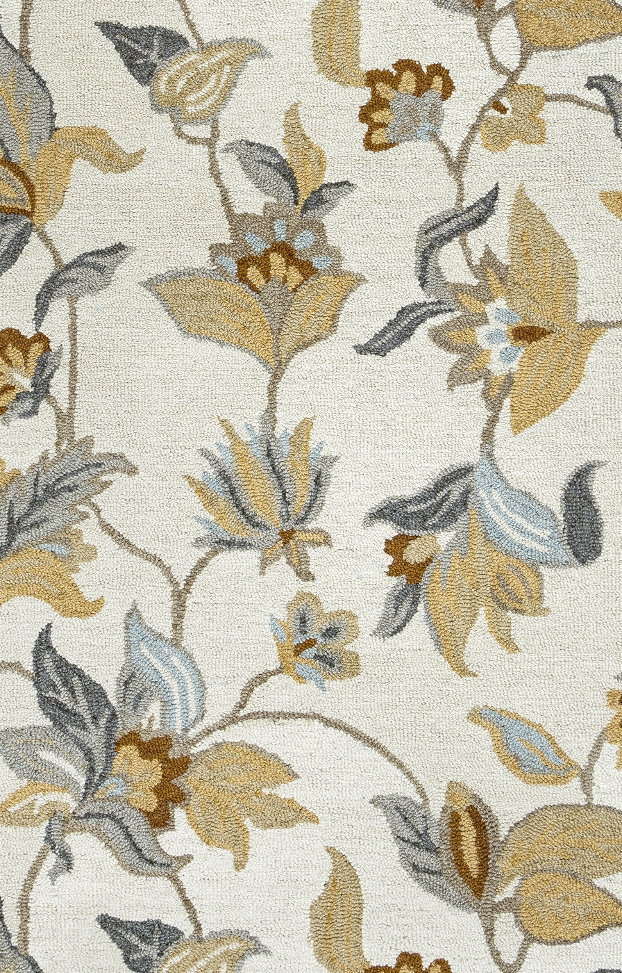 Maggie Belle Flower Vine Pattern Wool Area Rug In Khaki