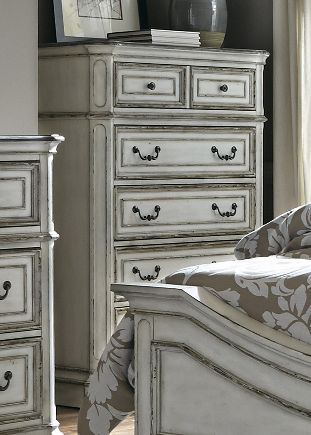 Magnolia 5-Drawer Chest with Antique Brass Hardware in Distr