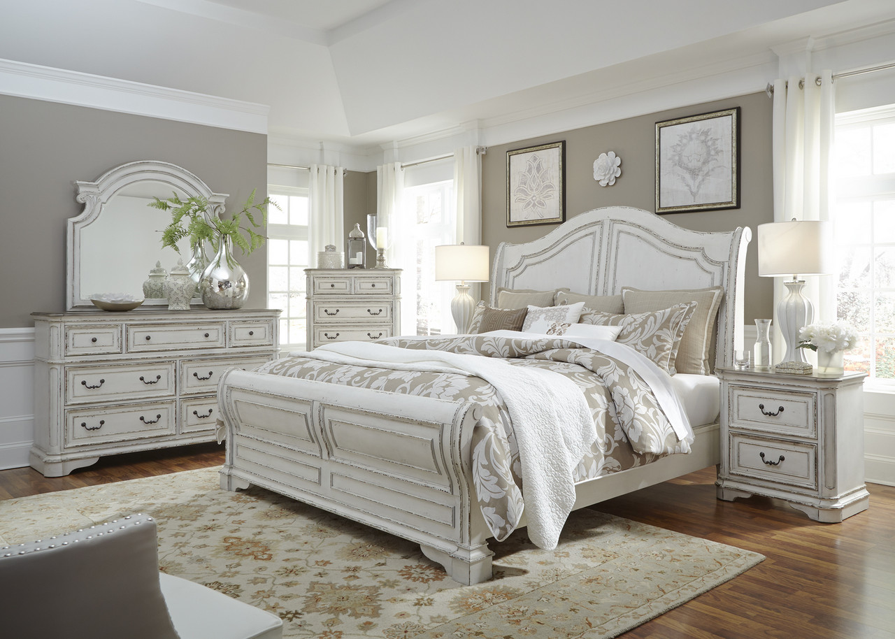 Magnolia Classic Bedroom 4PC Queen Sleigh Bed Set Arched Headboard Antique  White