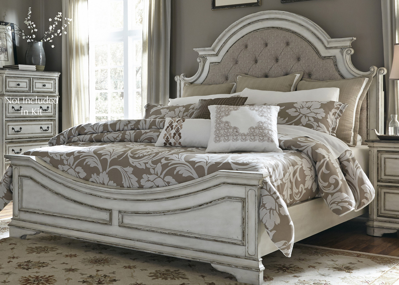Details About Magnolia King Panel Bed On Tufted Beige Linen Headboard Antique White Brown
