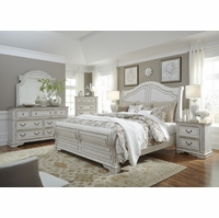 Magnolia King Sleigh Bed Set w/Arched Headboard & Bracket Feet in Antique White
