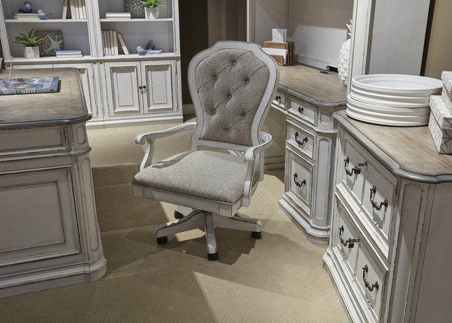 Magnolia Traditional Antique White Office Chair W/Button Tufted Back U0026  Casters