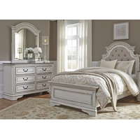 Magnolia Traditional Kids Tufted Chenille Twin Bedroom Set in Antique White Finish