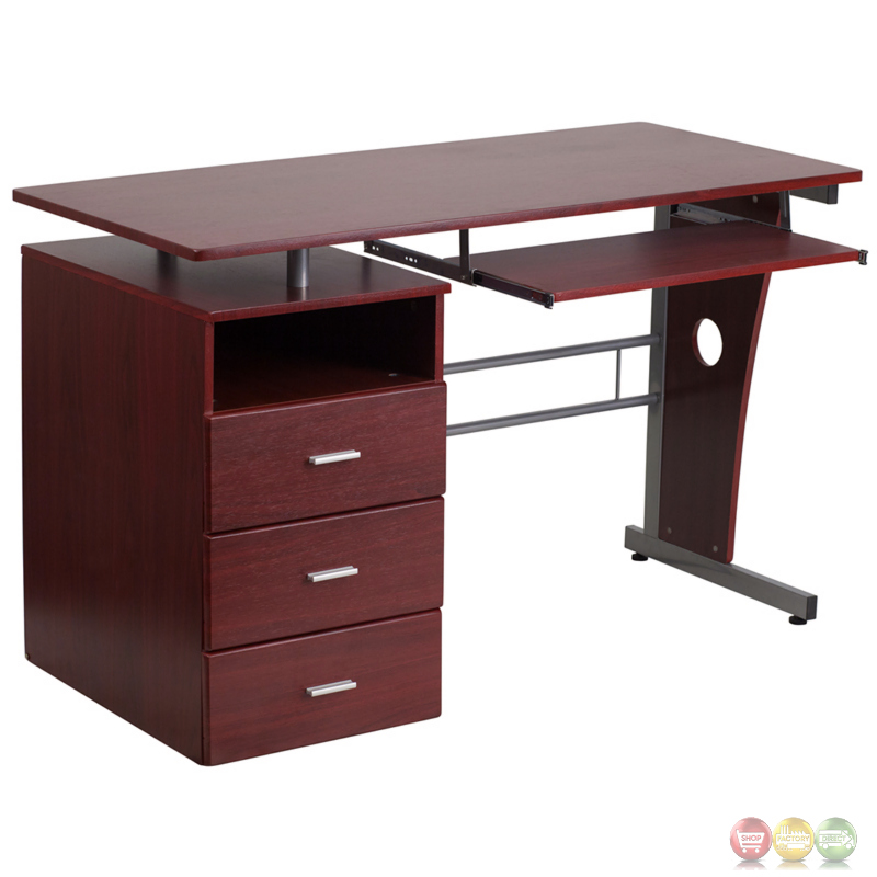 Mahogany desk with three drawer pedestal and pull out for Small pull out desk