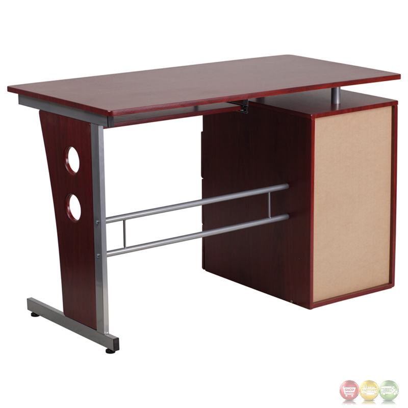 Mahogany Desk With Three Drawer Pedestal And Pull Out