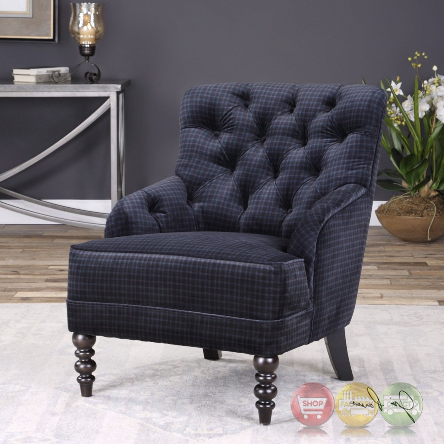 Mahoney Navy Blue Plaid Velvet Lounge Chair With Button
