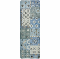 """Maison Detailed Patchwork Wool Runner Rug In Blue White Brown, 2'6"""" x 8'"""