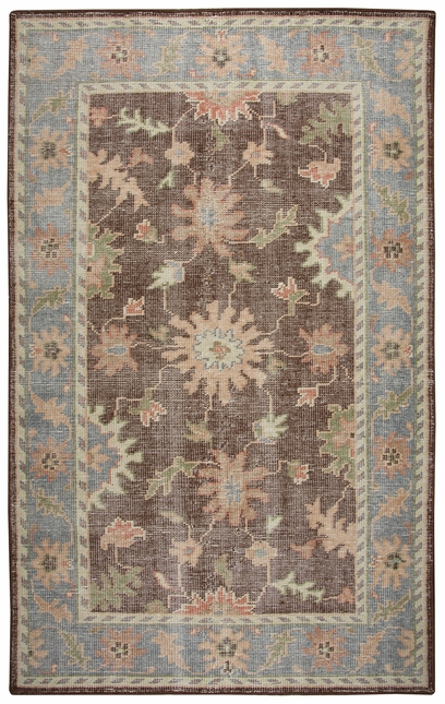 Maison Faded Damask Wool Area Rug In