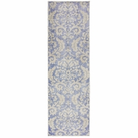 """Maison Faded Damask Wool Runner Rug In Blue & Ivory, 2'6"""" x 8'"""