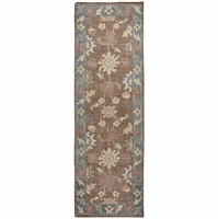 """Maison Faded Damask Wool Runner Rug In Brown Green Gray Red, 2'6"""" x 8'"""